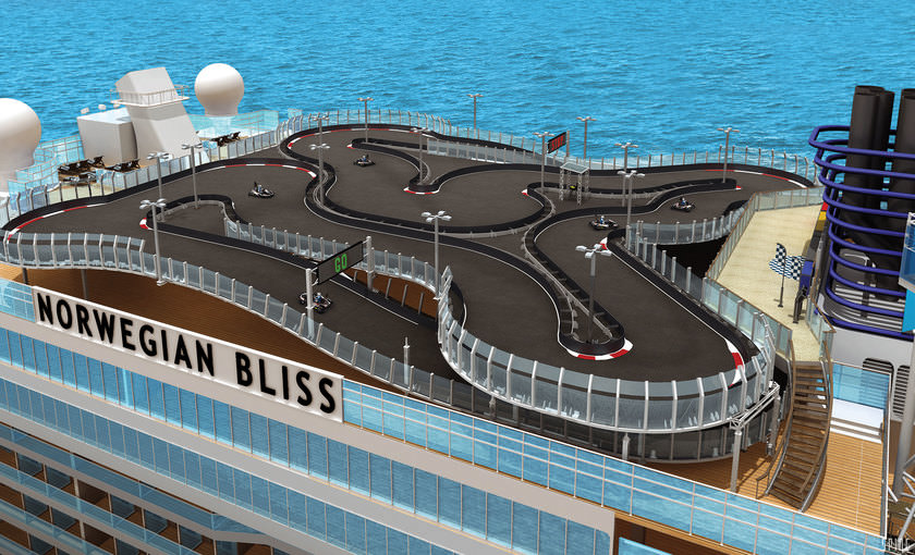 De kartbaan op de Norwegian Bliss