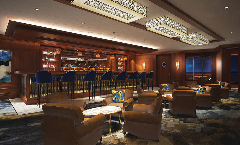 Maltings whiskey bar op de Norwegian Bliss