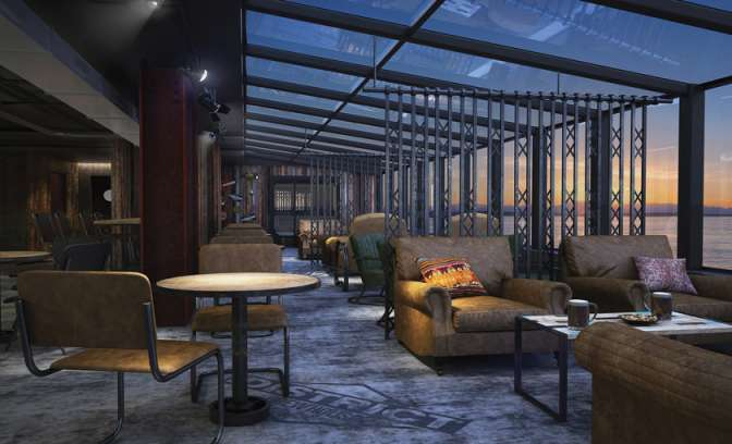 District brew house lounge op de Norwegian Bliss